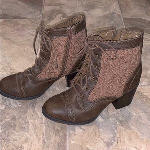 Brown leather/crochet lace boots